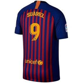 Nike FC Barcelona 'SUAREZ 9' Home Stadium Jersey '18-'19 (Deep Royal Blue/University Gold)