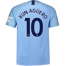 Nike Manchester City 'KUN AGUERO 10' Home Stadium Jersey '18-'19 (Field Blue/Midnight Navy)