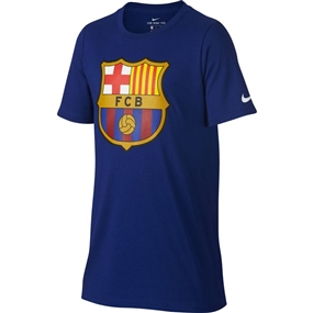 Nike Youth FC Barcelona Crest Tee Shirt (Deep Royal Blue)