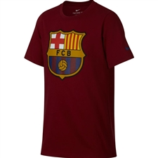 Nike Youth FC Barcelona Crest T-Shirt (Noble Red)