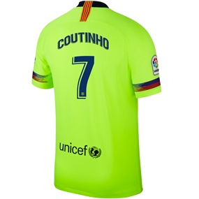 Nike FC Barcelona 'COUTINHO 7' Away Vapor Match Jersey '18-'19 (Volt/Deep Royal Blue)