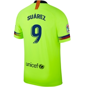 Nike FC Barcelona 'SUAREZ 9' Away Stadium Jersey '18-'19 (Volt/Deep Royal Blue)