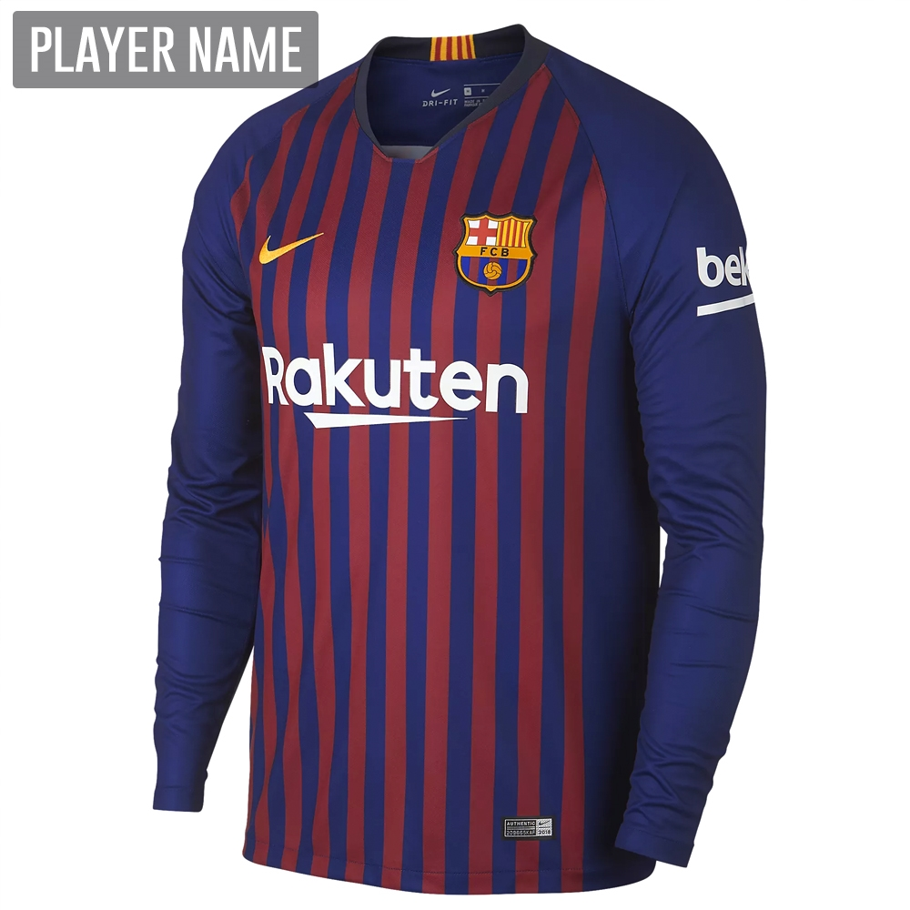 size 40 99c15 7037e Nike FC Barcelona Home Long Sleeve Stadium Jersey '18-'19 (Deep Royal  Blue/University Gold)