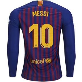 Nike FC Barcelona 'MESSI 10' Home Long Sleeve Stadium Jersey '18-'19 (Deep Royal Blue/University Gold)