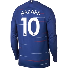 Nike Chelsea 'HAZARD 10' Home Long Sleeve Stadium Jersey '18-'19 (Rush Blue/White)