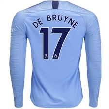 Nike Manchester City 'DE BRUYNE 17' Home Long Sleeve Stadium Jersey '18-'19 (Field Blue/Midnight Navy)