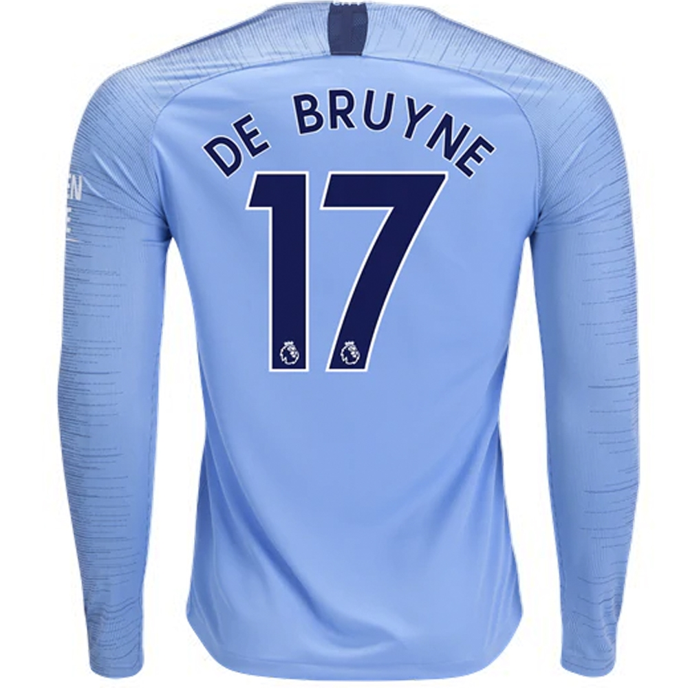 Nike Manchester City  DE BRUYNE 17  Home Long Sleeve Stadium Jersey  18- 19  (Field Blue Midnight Navy)  1a18327c0