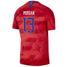 Nike USWNT 'MORGAN 13' Men's 2019 Away Stadium 4-Star Jersey (Speed Red/Bright Blue)