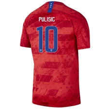 Nike USWNT 'PULISIC 10' Men's 2019 Away Stadium 4-Star Jersey (Speed Red/Bright Blue)