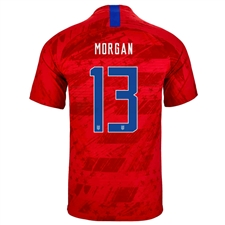 Nike USA 'MORGAN 13' Men's 2019 Away Stadium Jersey (Speed Red/Bright Blue)