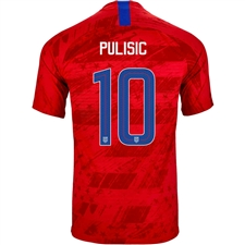 Nike USA 'PULISIC 10' Men's 2019 Away Stadium Jersey (Speed Red/Bright Blue)