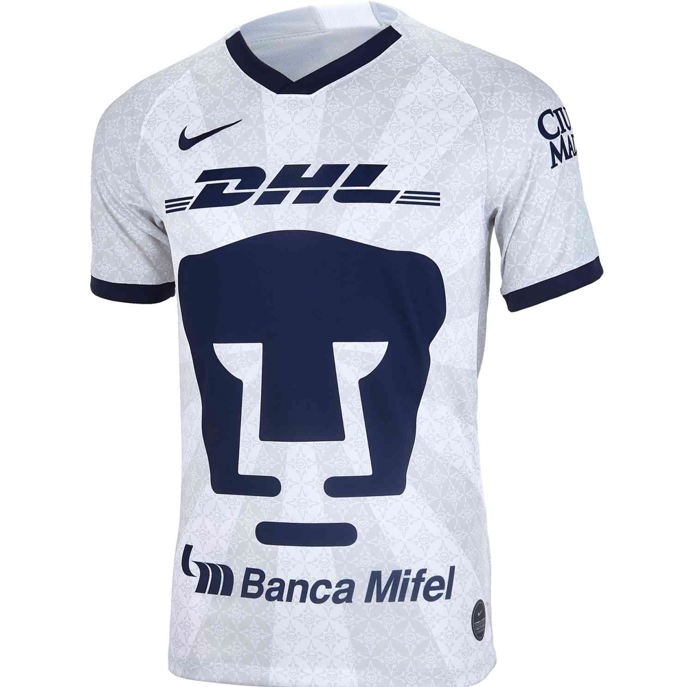 huge discount 09a85 b6db4 Nike Pumas UNAM Home Stadium Jersey '19-'20 (White/Truly Gold/Obsidian)