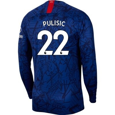check out 85b57 c0a89 Nike Chelsea 'PULISIC 22' Home Long Sleeve Stadium Jersey '19-'20 (Rush  Blue/White)