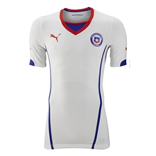Puma Chile Home 2014 Replica Soccer Jersey (Puma Red/Surf the Web/ White)