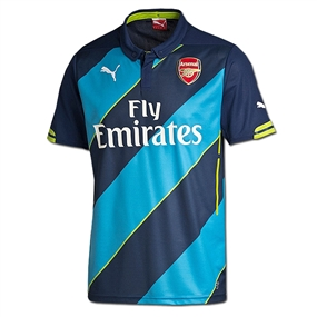 Puma Arsenal Third '14-'15 Replica Soccer Jersey (Navy/Estate Blue/Lime)