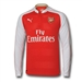 Puma Arsenal Home '15-'16 Long Sleeve Replica Soccer Jersey (High Risk Red/White)