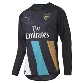 Puma Arsenal Third '15-'16 Long Sleeve Replica Soccer Jersey (Anthracite/Capri Breeze/Victory Gold/White)