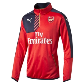 Puma Arsenal 1/4 Zip Training Top (High Risk Red/Black Iris)