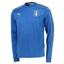 Puma Italy Home 2015-16 Long Sleeve Soccer Jersey (Team Power Blue/White)