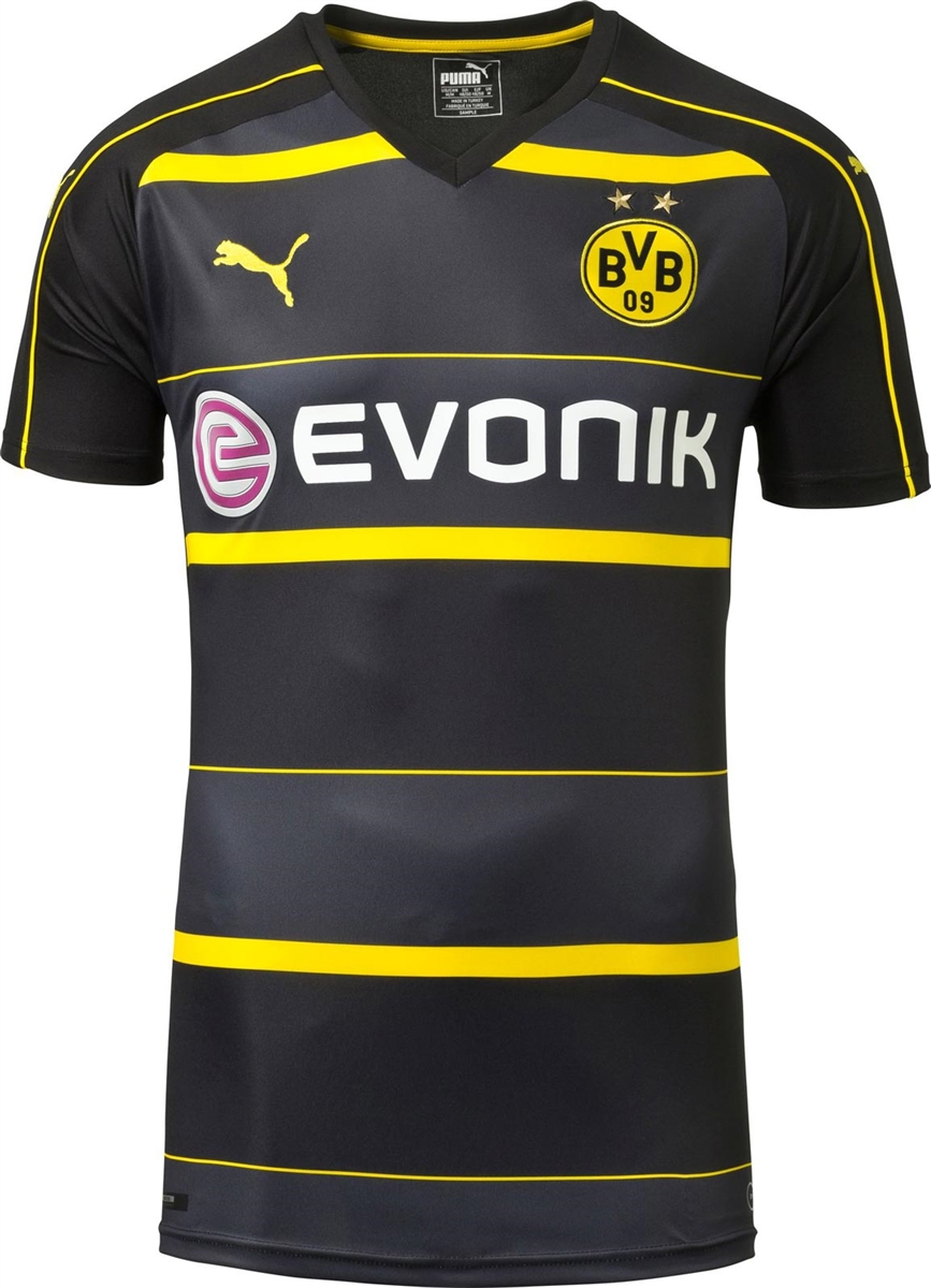 low priced ea063 19a35 Puma Borussia Dortmund '16-'17 Away Soccer Jersey (Black/Cyber Yellow)