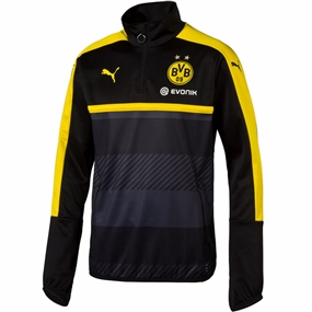 Puma Borussia Dortmund 1/4 Zip Training Top (Black/Cyber Yellow)
