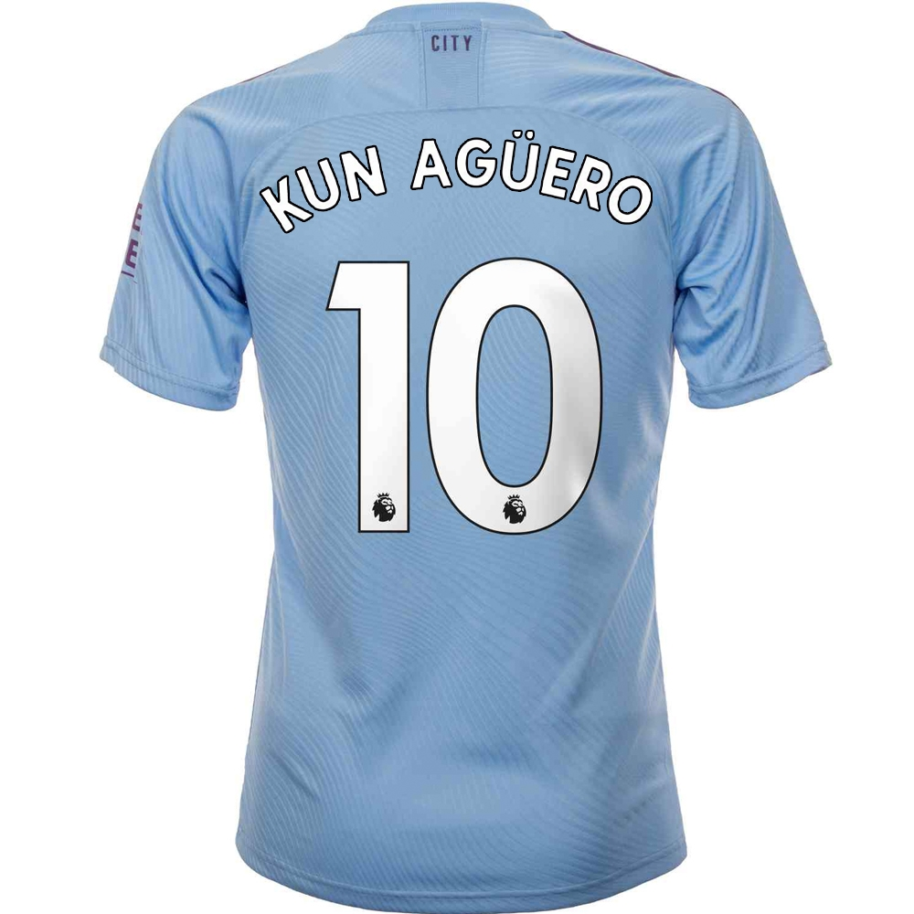 online retailer a3db3 6dd20 Puma Manchester City 'KUN AGUERO 10' Home Authentic Jersey '19-'20 (Team  Light Blue/Tillandsia Purple)