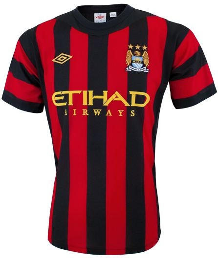 arrives 66f53 7fd10 Umbro Manchester City Away Replica '11-'12 Replica Soccer Jersey (Jaw  Black/Red)