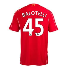 Warrior Liverpool 'BALOTELLI 45' Home '14-'15 Replica Soccer Jersey (Red)