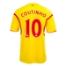 Warrior Liverpool 'COUTINHO 10' Away '14-'15 Replica Soccer Jersey (Cyber Yellow/High Risk Red)