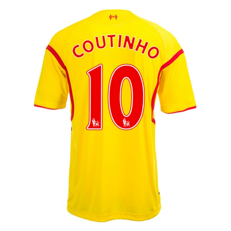 quality design 9d3a2 e1e12 Warrior Liverpool 'COUTINHO 10' Away '14-'15 Soccer Jersey (Yellow)