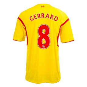 Warrior Liverpool 'GERRARD 8' Away '14-'15 Replica Soccer Jersey (Cyber Yellow/High Risk Red)