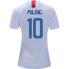 Nike USA Women's 'PULSIC 10' Home Stadium Jersey '18-'19 (White/Speed Red/Blue Nebula)
