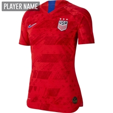 Nike USA Women's 2019 Away Vapor Match Jersey (Speed Red/Bright Blue)