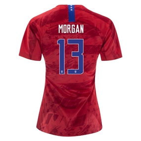 Nike USA 'MORGAN 13' Women's 2019 Away Vapor Match Jersey (Speed Red/Bright Blue)