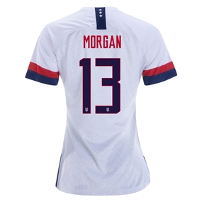 Nike USA 'MORGAN 13' Women's 2019 Home Vapor Match Jersey (White/Blue Void/University Red)