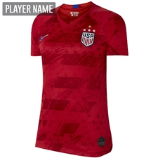 Nike USA Women's 2019 Away Stadium 4-Star Jersey (Speed Red/Bright Blue)