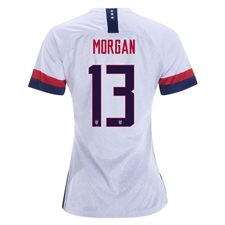 Nike USA 'MORGAN 13' Women's 2019 Home Stadium 4-Star Jersey (White/Blue Void/University Red)