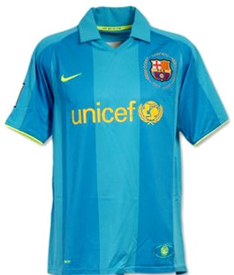 huge selection of 41b5b 27b47 Nike FC Barcelona Away 50th Anniversary Youth Replica '07-'08 Jersey (Blue  Reef)
