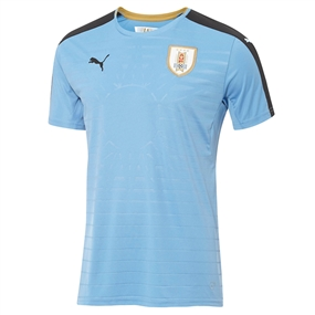Puma Uruguay 2016 Home Youth Soccer Jersey (Silver Lake Blue/Black/Victory Gold)