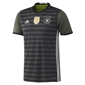 Adidas Germany Away Youth 2015-16 Soccer Jersey (Dark Grey Heather/Off White/Base Green)