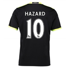 Adidas Youth Chelsea 'HAZARD 10' Away '16-'17 Replica Soccer Jersey (Black/Grey/Solar Yellow)