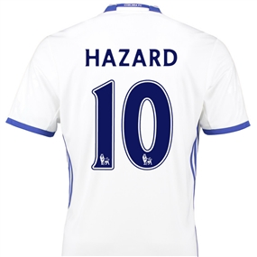 Adidas Youth Chelsea 'HAZARD 10' Third '16-'17 Replica Soccer Jersey (White/Chelsea Blue)
