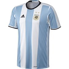 Adidas Youth Argentina Home 2016 Replica Soccer Jersey (Light Blue/White/Black)