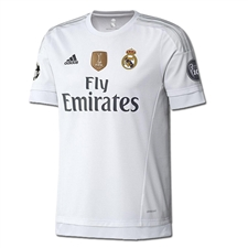Adidas Real Madrid UCL Home Youth '15-'16 Replica Soccer Jersey (White/Clear Grey)