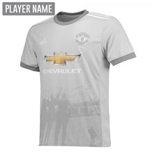 Adidas Manchester United Youth Third '17-'18 Soccer Jersey (Solid Grey/White/Grey)