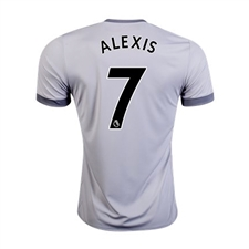 Adidas Manchester United Youth 'ALEXIS 7' Third '17-'18 Soccer Jersey (Solid Grey/White/Grey)