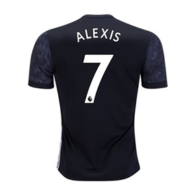 Adidas Manchester United Youth 'ALEXIS 7' Away '17-'18 Soccer Jersey (Black/White/Sharp Grey)
