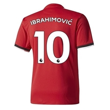 Adidas Manchester United Youth 'IBRAHIMOVIC 10' Home '17-'18 Soccer Jersey (Real Red/White/Black)