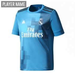 Adidas Real Madrid Third '17-'18 Youth Soccer Jersey (Vivid Teal/Solar Green/White)