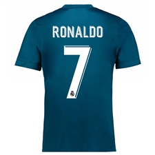 Adidas Real Madrid 'RONALDO 7' Third '17-'18 Youth Soccer Jersey (Vivid Teal/Solar Green/White)